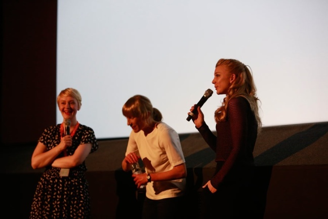 Virginia Gilbert (centre) and Natalie Dormer (right) at Q&A for A Long Way From Home. Photography by Pako Mera, courtesy of EIFF.