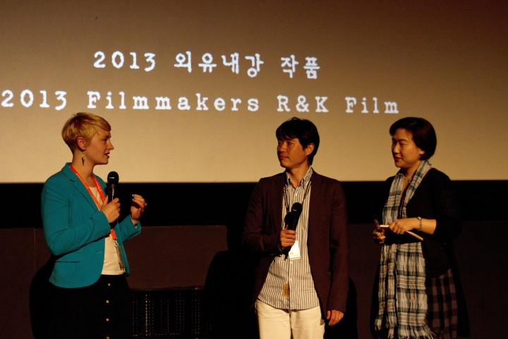 Director Ryoo Seung-wan (centre) and interpreter Jean Noh (right) at Q&A for The Berlin File. Photography by Shona Wass, courtesy of EIFF.