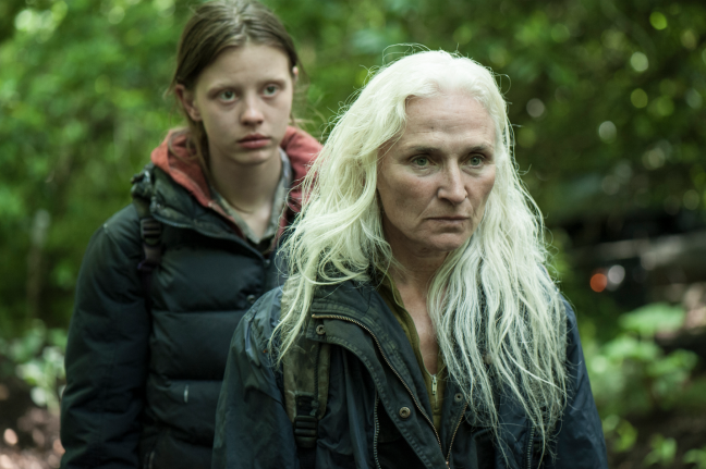 Mia Goth as Milja and Olwen Fouéré as Kathryn
