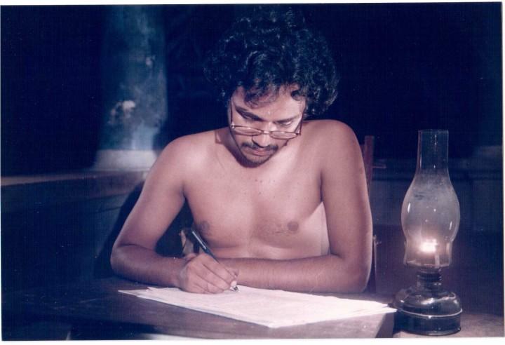 Kathapurushan - Kunjunnii writing (lamp before)